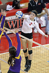17 October 2014:  Jaelyn Keene strikes towards Autumn Alitz during an NCAA Missouri Valley Conference (MVC) womens volleyball match between the Northern Iowa Panthers and the Illinois State Redbirds for 1st place in the conference at Redbird Arena in Normal IL