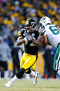 PITTSBURGH, PA - JANUARY 23: James Harrison #92 of the Pittsburgh Steelers rushes the passer against the New York Jets in the AFC Championship Playoff Game at Heinz Field on January 23, 2011 in Pittsburgh, Pennsylvania(Photo by: Rob Tringali) *** Local Caption *** James Harrison