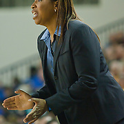 01/11/12 Newark DE: University of North Carolina Wilmington Women's Head Coach Cynthia Cooper-Dyke yells out frustration from the sidelines during a Colonial Athletic Association Conference Basketball Game against Delaware Thursday, Jan. 12, 2012 at the Bob Carpenter Center in Newark Delaware.<br /> <br /> No. 18 Delaware (13-1, 4-0) defeated University of North Carolina Wilmington (8-7, 1-3) 69-37 continuing their best start in school history behind Elena Delle Donne 23 point scoring point effort.