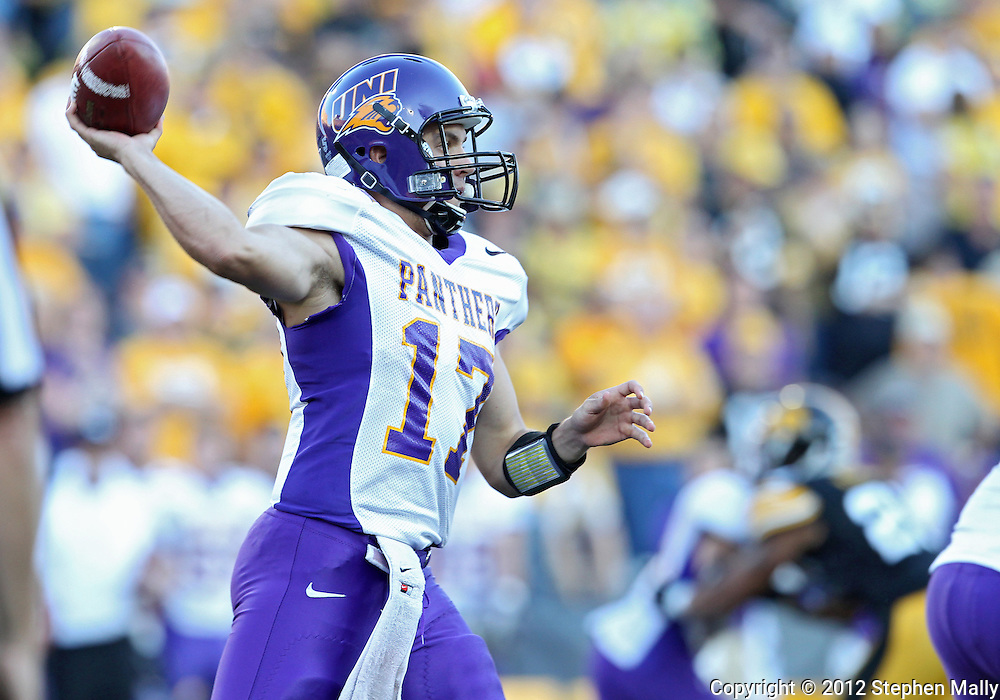 September 15 2012: Northern Iowa Panthers quarterback Sawyer Kollmorgen (17) throws a pass during the second half of the NCAA football game between the Northern Iowa Panthers and the Iowa Hawkeyes at Kinnick Stadium in Iowa City, Iowa on Saturday September 15, 2012. Iowa defeated Northern Iowa 27-16.