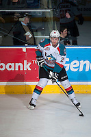 KELOWNA, CANADA - FEBRUARY 9: Josh Morrissey #27 of Kelowna Rockets warms up against the Prince George Cougarson February 9, 2015 at Prospera Place in Kelowna, British Columbia, Canada.  (Photo by Marissa Baecker/Shoot the Breeze)  *** Local Caption *** Josh Morrissey;