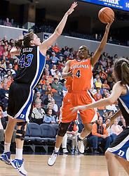 Virginia Cavaliers Center Siedah Williams (4)shoots over Duke Blue Devils Center Alison Bales (43).  The University of Virginia Cavaliers lost to the #1 ranked Duke University Blue Devils 76-61 at the John Paul Jones Arena in Charlottesville, VA on February 2, 2007.