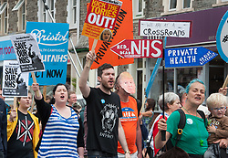 © Licensed to London News Pictures.  27/05/2017; Bristol, UK. General Election 2017; NHS protest march against cuts to health funding, from Horfield Common to St Andrews Park in the Bristol West constituency. Speakers included Ken Loach. Picture credit : Simon Chapman/LNP