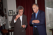 MICHAEL MOLNAC; JAMES FOX, Freud Museum dinner, Maresfield Gardens. 16 June 2011. <br /> <br />  , -DO NOT ARCHIVE-© Copyright Photograph by Dafydd Jones. 248 Clapham Rd. London SW9 0PZ. Tel 0207 820 0771. www.dafjones.com.