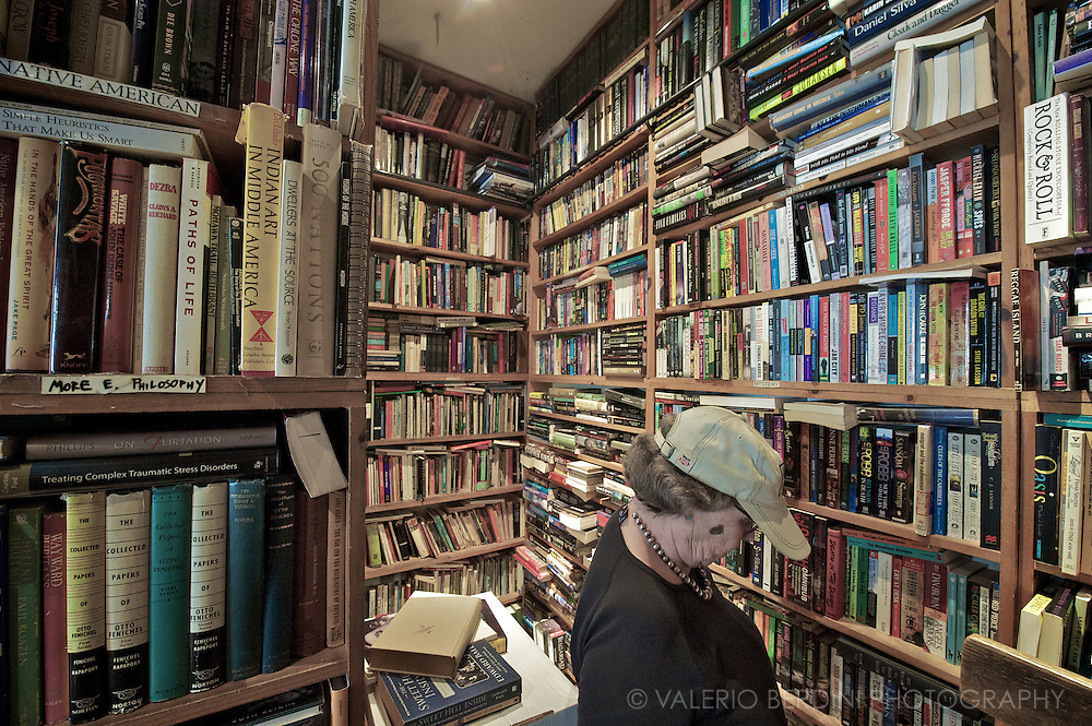 Browsing for second hand books in Greenwich Village.
