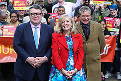 © Licensed to London News Pictures. 22/04/2017. Batley, UK. Labour deputy leader Tom Watson, MP Tracy Brabin and Emmerdale actor John Middleton campaigning in Batley, West Yorkshire. Brabin only became an MP earlier this year after the murder of Jo Cox. Prime minister Theresa May fired the starting gun on an early general election this week. The snap election will be held on June 8th. Photo credit : Ian Hinchliffe/LNP