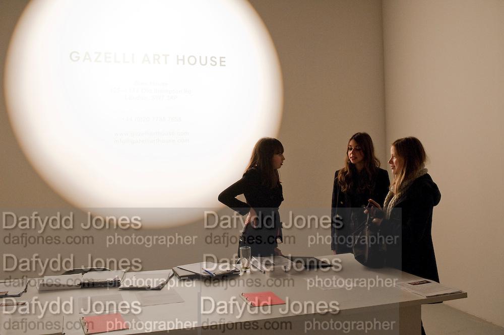 NICKY BAIRD; ANNICK WEBER, Fired Up, Exhibition of work by Joe Clark, Lauren Cotton, Rory McCartney, David Jones and Farid Rasulov. Gazelli Art House. Wakefield st. London. WC1. 10 February 2011. -DO NOT ARCHIVE-© Copyright Photograph by Dafydd Jones. 248 Clapham Rd. London SW9 0PZ. Tel 0207 820 0771. www.dafjones.com.