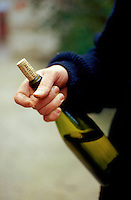 Vincent Dauvissat, a Chablis winemaker, holds a bottle of his excellent wine.