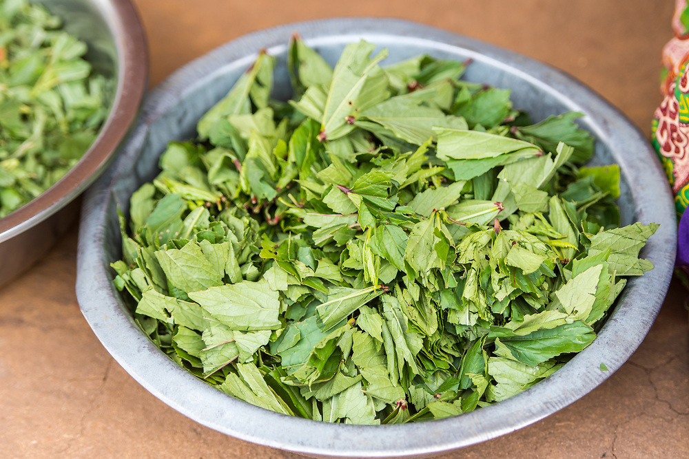 Close up on a bowl of freshly chopped greens, Mukuni Village, Zambia
