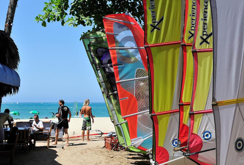 Surf sails on beach,Cabarete, Dominican Republic, Caribbean