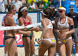 02.08.2014, Strandbad, Klagenfurt, AUT, A1 Beachvolleyball Grand Slam 2014, im Bild  Marta Menegatti (ITA), Viktoria Orsi Toth (ITA), Agatha BEDNARCZUK (BRA), Barbara SEIXAS (BRA)// during the A1 Beachvolleyball Grand Slam at the Strandbad Klagenfurt, Austria on 2014/08/02. EXPA Pictures © 2014, EXPA Pictures © 2014, PhotoCredit: EXPA/ Mag. Gert Steinthaler
