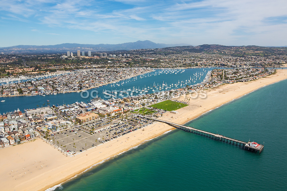 Aerial Stock Photo Of The Balboa Pier And Peninsula Park