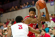 DALLAS, TX - JANUARY 21: Craig Brown #15 of the Rutgers Scarlet Knights is defended by Sterling Brown #3 of the SMU Mustangs on January 21, 2014 at Moody Coliseum in Dallas, Texas.  (Photo by Cooper Neill/Getty Images) *** Local Caption *** Craig Brown