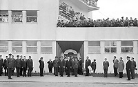 95160<br /> American President John Fitzgerald Kennedy (JFK)'s visit to Ireland, JFK with Éamon De Valera and crowds of people at Dublin Airport, 26/06/1963 (Part of the Independent Newspapers Ireland/NLI Collection). (Box 1)