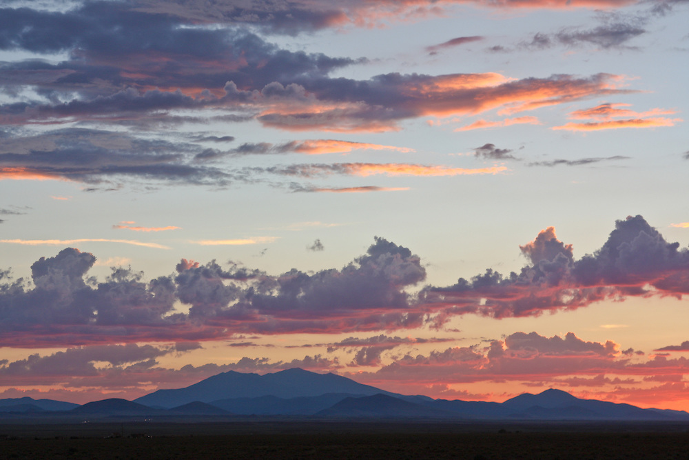 Sunset over San Francisco Peaks, Northern Arizona, photo taken from Birdsprings area