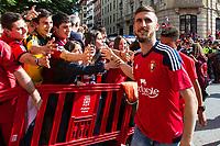 Osasuna's player Oier Sanjurjo during the celebration for promotion to La Liga BBVA on the streets of Pamplona . 19,06,2016. (ALTERPHOTOS/Rodrigo Jimenez)