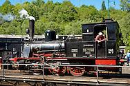 DEU, Germnay, Ruhr area, Bochum, railway museum in the district Dahlhausen, old steam locomotive on a turning platform...DEU, Deutschland, Ruhrgebiet, Eisenbahnmuseum im Stadtteil Dahlhausen, alte Dampflokomotive auf einer Drehscheibe.