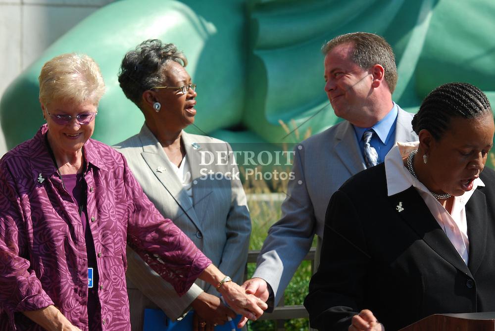 Metro Detroiters celebrate the 50th Anniversary of the restored Spirit of Detroit Statue.