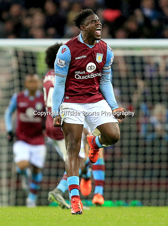 28th November 2015 - Barclays Premier League - Aston Villa v Watford -  Micah Richards of Aston Villa celebrates after equalising (1-1) - Photo: Paul Roberts / Offside.