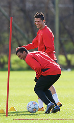 MANCHESTER, ENGLAND - Monday, March 3, 2008: Manchester United's Christiano Ronaldo and Nani training at Carrington ahead of the UEFA Champions League First knockout round 2nd leg match against Olympique Lyonnais. (Photo by David Rawcliffe/Propaganda)