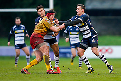 Bristol Rugby Inside Centre Ben Mosses and Outside Centre Gareth Maule tackle Scarlets XV Hooker Ryan Elias - Mandatory byline: Rogan Thomson/JMP - 17/01/2016 - RUGBY UNION - Clifton Rugby Club - Bristol, England - Scarlets Premiership Select XV v Bristol Rugby - B&I Cup.