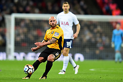 February 7, 2018 - London, United Kingdom - David Pipe of Newport County looks upfield during the FA Cup Fourth Round replay match between Tottenham Hotspur and Newport County at Wembley stadium, London, England on 10 Feb  2018. (Credit Image: © Kieran Galvin/NurPhoto via ZUMA Press)