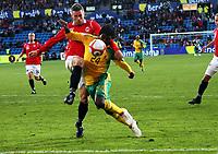 Fotball , 10. oktober 2009 , Privatkamp , Norge - Sør-Afrika<br /> Norway - South-Africa 1-0<br /> <br /> Kjetil Wæhler , Norge og Mabhudi Khenyeza , Sør-Afrika