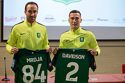 Dragan Mrdja and Jason Davidson at press conference of NK Olimpija before spring part season of PLTS, on February 21, 2017 in Austria Trend Hotel, Ljubljana, Slovenia. Photo by Urban Urbanc / Sportida