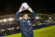 Brighton striker Tomer Hemed celebrates with the match ball at the end of the Sky Bet Championship match between Brighton and Hove Albion and Fulham at the American Express Community Stadium, Brighton and Hove, England on 15 April 2016. Photo by Bennett Dean.