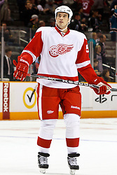 March 3, 2011; San Jose, CA, USA;  Detroit Red Wings defenseman Jonathan Ericsson (52) warms up before the game against the San Jose Sharks at HP Pavilion.  San Jose defeated Detroit 3-1. Mandatory Credit: Jason O. Watson / US PRESSWIRE
