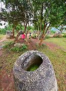 Laos, Xieng Khouang Province. Plain of Jars.  Jar Site 2.