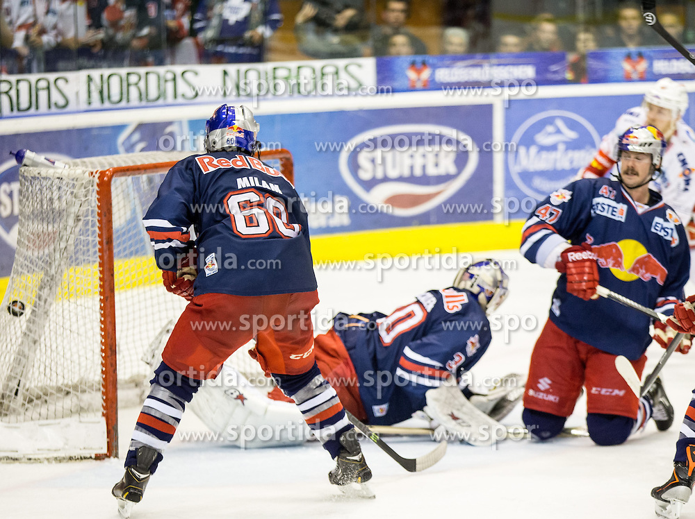 11.04.2014, Eiswelle, Bozen, ITA, EBEL, HCB Suedtirol vs EC Red Bull Salzburg, Finale, best of five, 4. Spiel, im Bild 3:3 durch Kim Stroemberg (Bozen) // 3:3 durch Kim Stroemberg (Bozen) during the Erste Bank Icehockey League Final 4th match between HCB Suedtirol and EC Red Bull Salzburg at the Eiswelle in Bozen, Italy on 2014/04/11. EXPA Pictures © 2014, PhotoCredit: EXPA/ Johann Groder