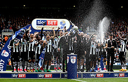 Free to use courtesy of Sky Bet - Newcastle United lift the Sky Bet Championship Trophy - Mandatory by-line: Robbie Stephenson/JMP - 07/05/2017 - FOOTBALL - St James Park - Newcastle upon Tyne, England - Newcastle United v Barnsley - Sky Bet Championship