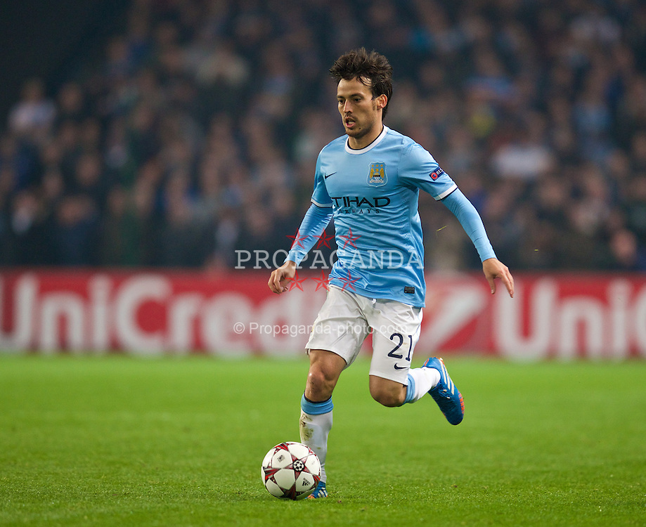 MANCHESTER, ENGLAND - Tuesday, November 5, 2013: Manchester City's David Silva in action against CSKA Moscow during the UEFA Champions League Group D match at the City of Manchester Stadium. (Pic by David Rawcliffe/Propaganda)