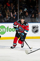 KELOWNA, BC - SEPTEMBER 28:  Elias Carmichael #14 of the Kelowna Rockets skates withthe puck against the Everett Silvertips at Prospera Place on September 28, 2019 in Kelowna, Canada. (Photo by Marissa Baecker/Shoot the Breeze)