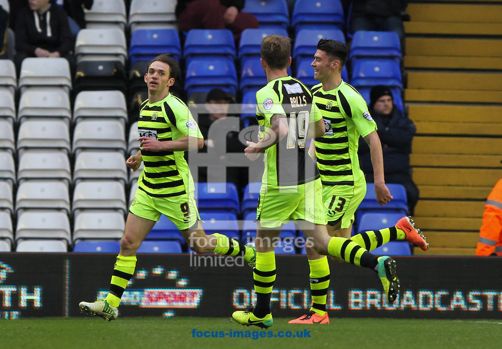 Picture by Tom Smith/Focus Images Ltd 07545141164<br /> 18/01/2014<br /> James Hayter (left) of Yeovil Town celebrates scoring his sides first goal with his team mates during the Sky Bet Championship match at St Andrews, Birmingham.