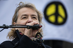 London, UK. 11 January, 2020. Kate Hudson, General Secretary of the Campaign for Nuclear Disarmament (CND), addresses the No War on Iran demonstration in Trafalgar Square organised by Stop the War Coalition and the Campaign for Nuclear Disarmament to call for deescalation in the Middle East following the assassination by the United States of Iranian General Qassem Soleimani and the subsequent Iranian missile attack on US bases in Iraq.