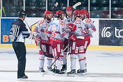 Team HK Acroni Jesenice celebrating goal during ice-hockey match between HDD Tilia Olimpija and HK Acroni Jesenice in second game of Final at Slovenian National League, on April 3, 2011 at Hala Tivoli, Ljubljana, Slovenia. (Photo By Matic Klansek Velej / Sportida.com)