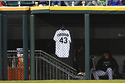 CHICAGO, IL - APRIL 21: Chicago White Sox relief pitcher Danny Farquhar's (not pictured) jersey is seen hanging in the outfield dugout during a game between the and the Houston Astros the Chicago White Sox on April 21, 2018, at Guaranteed Rate Field, in Chicago, IL. White Sox pitcher Danny Farquhar suffered a brain hemorrhage in the dugout in last night's game after pitching an inning. (Photo by Patrick Gorski/Icon Sportswire)