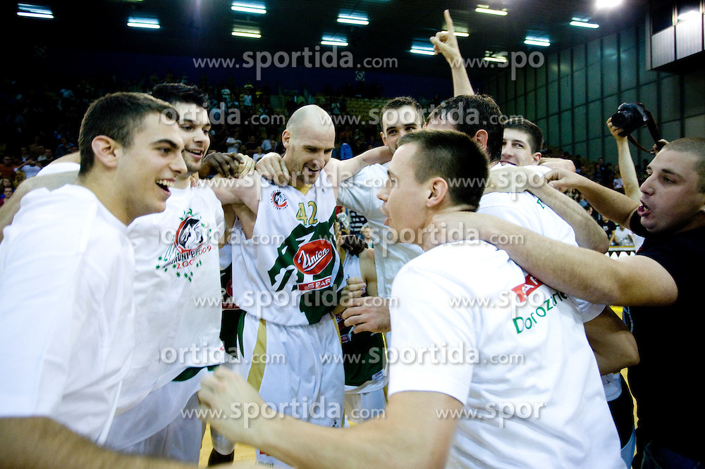 Mirza Sarajlija, Saso Ozbolt, Marko Maravic, Mirza Begic and Aleksej Nesovic celebrate at third finals basketball match of Slovenian Men UPC League between KK Union Olimpija and KK Helios Domzale, on June 2, 2009, in Arena Tivoli, Ljubljana, Slovenia. Union Olimpija won 69:58 and became Slovenian National Champion for the season 2008/2009. (Photo by Vid Ponikvar / Sportida)