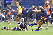Henry Pyrgos tees up Jaco van der Walt's kick during the Guinness Pro 14 2018_19 match between Edinburgh Rugby and Dragons Rugby at Murrayfield Stadium, Edinburgh, Scotland on 15 February 2019.