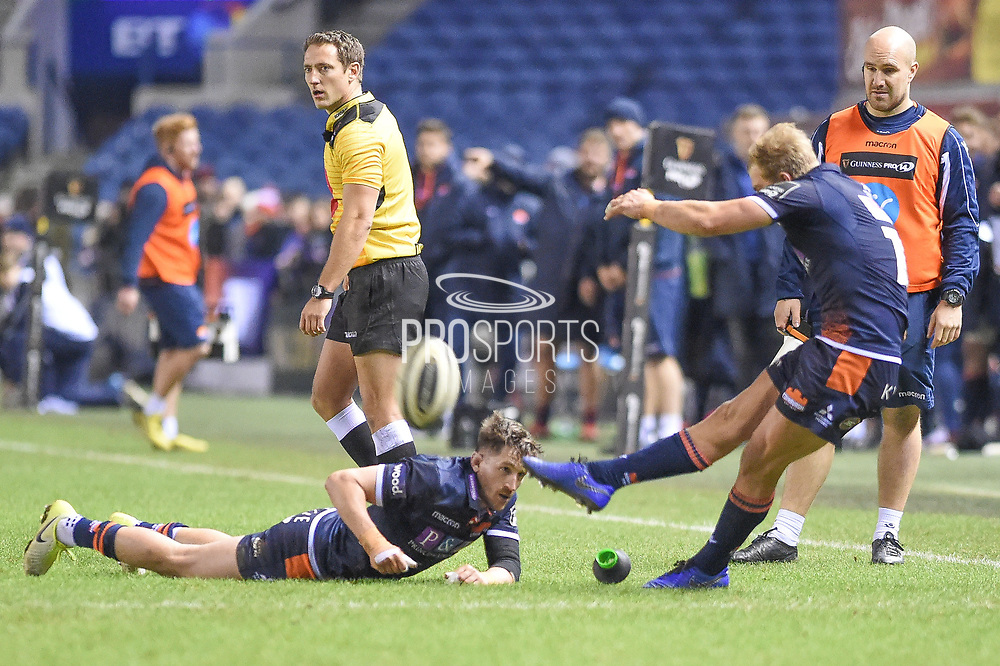 Henry Pyrgos tees up Jaco van der Walt's kick during the Guinness Pro 14 2018_19 match between Edinburgh Rugby and Dragons Rugby at Murrayfield Stadium, Edinburgh, Scotland on 15 February 2019.