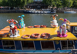© Licensed to London News Pictures.  27/06/2018; Bristol, UK. Gromit Unleashed 2, official launch at Bristol Harbourside. Gromit Unleashed 2 will see the Academy Award®-winning character Gromit by Nick Park at Aardman Animations returning to Bristol in 2018 for the second time on sculpture trails to raise money for  the Grand Appeal charity. The character of Gromit will be joined by Wallace and arch nemesis Feathers McGraw.<br /> The trail will feature over 60 giant sculptures, including a new WG Grace cricketing Gromit, designed by high-profile artists, designers, innovators and local talent. Sculptures will be positioned in high footfall and iconic locations around Bristol and the surrounding area, for a family day out around the city and beyond. Photo credit: Simon Chapman/LNP