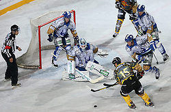 16.09.2012, Amphitheater, Pula, CRO, EBEL, Ice Fever, KHL Medvescak Zagreb vs UPC Vienna Capitals, 04. Runde, im Bild viel Verkehr vorm dem Tor von Michael Ouzas, (KHL Medvescak Zagreb, #40),Francoise Fortier, (UPC Vienna Capitals, #15) // during the Erste Bank Icehockey League 04th Round match betweeen KHL Medvescak Zagreb and UPC Vienna Capitals at the Amphitheater, Pula, Croatia on 2012/09/16. EXPA Pictures © 2012, PhotoCredit: EXPA/ Pixsell/ Igor Kralj ****** ATTENTION - OUT OF CRO, SRB, MAZ, BIH and POL *****