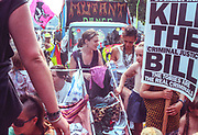 Ravers sitting on a truck, 2nd Criminal Justice March, Victoria, London, UK, 23rd of July 1994.