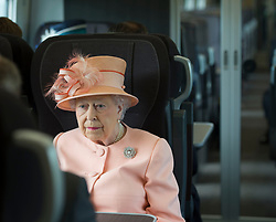 June 13, 2017 - Slough, United Kingdom - The Queen and the Duke of Edinburgh on a train traveling from  Slough railway station to mark the 175th anniversary of the first train journey by a British monarch. The Queen and the Duke  travelled  from Slough to London Paddington on a Great Western Railway train, recreating the historic journey made by Queen Victoria on 13th June 1842. (Credit Image: © Rota/i-Images via ZUMA Press)