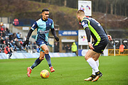 Wycombe Wanderers Forward Paris Cowan-Hall (12) takes on Carlisle United Defender Danny Grainger (3) during the EFL Sky Bet League 2 match between Wycombe Wanderers and Carlisle United at Adams Park, High Wycombe, England on 3 February 2018. Picture by Stephen Wright.