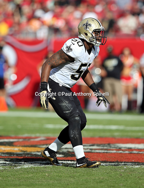 New Orleans Saints middle linebacker Stephone Anthony (50) makes a move during the 2015 week 14 regular season NFL football game against the Tampa Bay Buccaneers on Sunday, Dec. 13, 2015 in Tampa, Fla. The Saints won the game 24-17. (©Paul Anthony Spinelli)