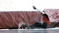 Skøyter<br /> NM sprint Valle Hovin<br /> 04.01.09<br /> Eivind Lia - Geithus går på trynet<br /> Foto - Kasper Wikestad