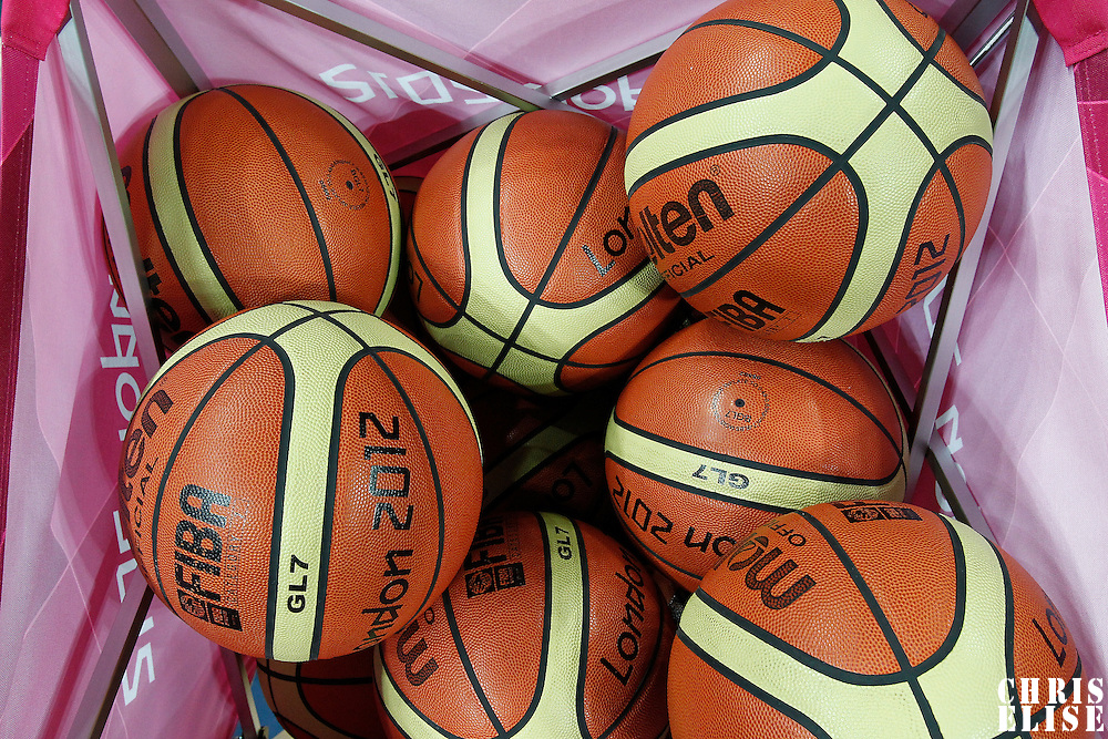 02 August 2012: Close view of a basket of balls during 75-74 Team Russia victory over Team Brazil, during the men's basketball preliminary, at the Basketball Arena, in London, Great Britain.